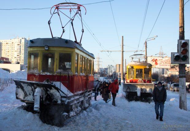 Одесские трамваи зимой